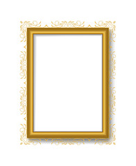 Gold vintage picture frame on  white