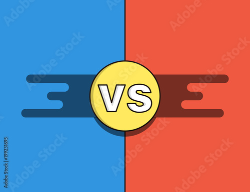 Vs Versus Background In Red Blue And Yellow For Confrontation And