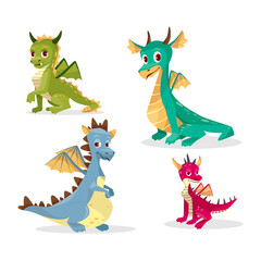 Cartoon dragons vector illustration for kid or children funny design. Flat isolated set of cute fairy monsters or colorful magic happy smiling baby dragons with wings, horns and pikes