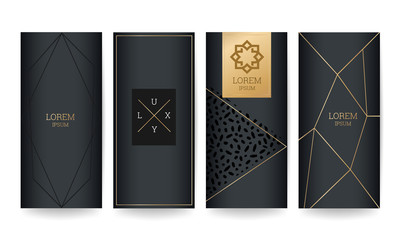 Luxury  Packaging Design with gold marble texture background and golden line vector illustration.
