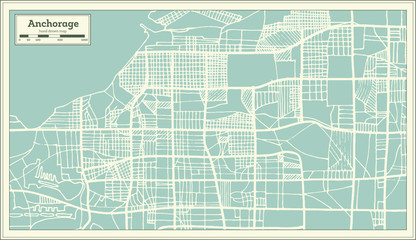 Anchorage Alaska USA City Map in Retro Style. Outline Map.