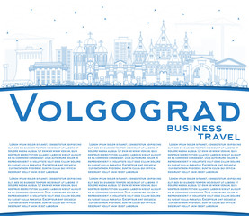 Outline Volgograd Russia City Skyline with Blue Buildings and Copy Space.