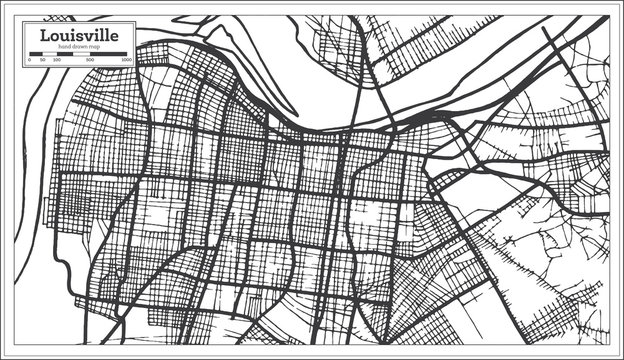 Louisville Kentucky USA City Map in Retro Style. Outline Map.