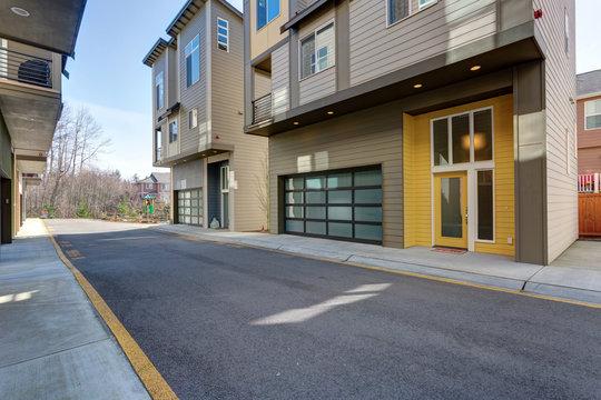 Yellow entrance door of apartment building