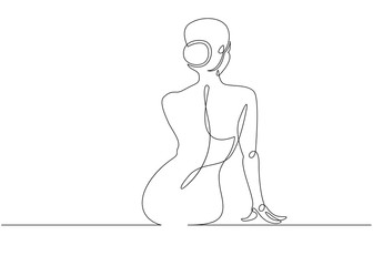 Continuous line drawing. Woman sitting back. Vector Illustration