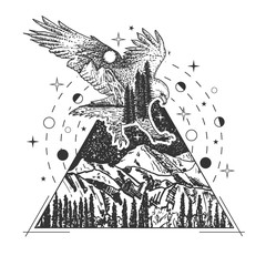 Vector creative geometric eagle tattoo art style design