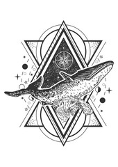 Vector creative geometric whale tattoo art style design