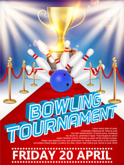 Bowling tournament poster vector realistic illustration