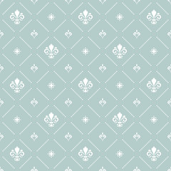 Seamless vector light blue and white dotted pattern. Modern geometric ornament with royal lilies. Classic vintage background