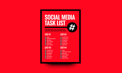 Social Media Task List Vector Template