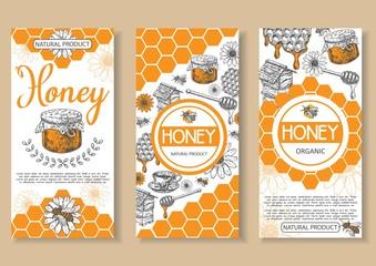 Bee natural honey vector hand drawn flyer set
