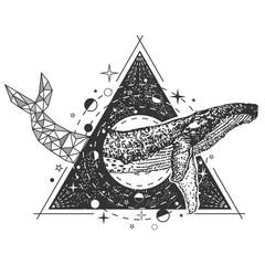 Vector creative geometric whale tattoo art style design