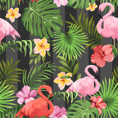 Seamless pattern with exotic flowers, tropical leaves and flamingos