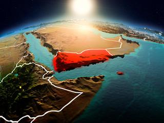 Yemen in sunrise from orbit