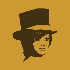 Face half turn view. Elegant silhouette of a woman wearing top hat and spectacles