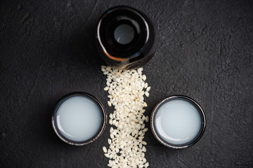 Japanese sake vodka and rice,copy space