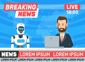 breaking news. newscaster interviewing robot humanoid in tv studio