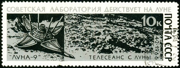Ukraine - circa 2018: A postage stamp printed in Soviet Union show Luna-9 on Moon's Surface. Series: Space Flight of Luna-9. Circa 1966