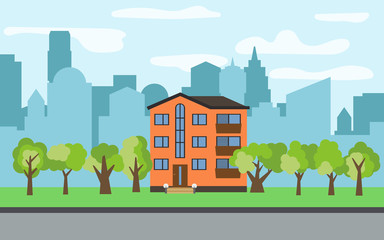 Vector city with three-story cartoon house and green trees in the sunny day. Summer urban landscape. Street view with cityscape on a background