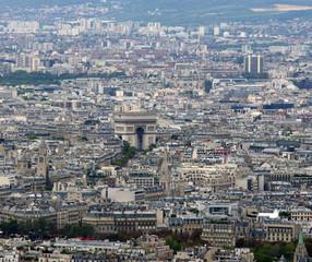 Arc de Triomphe in Paris, France. aerial view