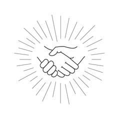 Business handshake. Vector icon of contract agreement.