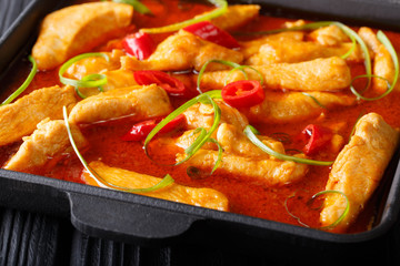 Delicious spicy chicken panang curry close-up on a black plate on the table. horizontal