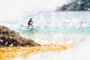 Surfer on the coastal wave