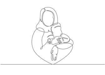 Logo with mother holding her baby with heart shape. Continuous line art vector illustration