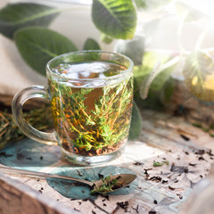 Hot herbal tea with bunch of fresh thyme. Rustic style, natural day light.