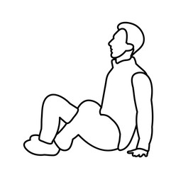 vector, isolated sketch male sitting on the ground
