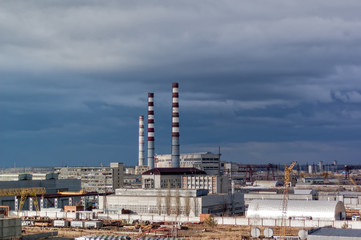 Tyumen, Russia - April 17, 2006: City Energy and Warm Power Factory