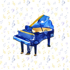 Piano. Musical instruments. Isolated on notes background. Watercolor illustration
