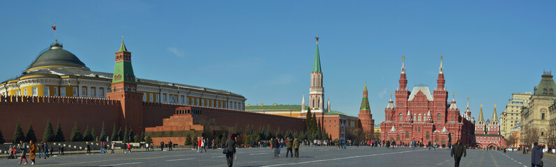 Moscow, Russia, - on March 29, 2018 / Red Square  - a view of the Lenin Mausoleum and the Historical museum, panorama