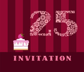 Invitation, 25 years old, raspberry pie, vector, English. The invitation to the birthday party. Wedding anniversary. Color card. Berry cake with raspberries on a striped, dark red field.
