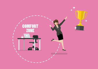 Business woman trying to break out of her comfort zone to success