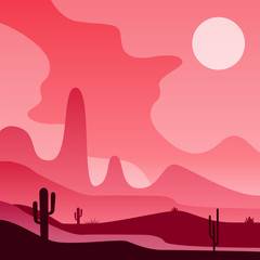 View on Mexican or American desert with cactus plants. Colorful western landscape. Vector design in gradient colors for postcard, banner or print