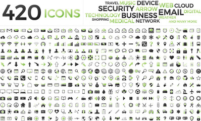 Black and green web business technology icons set