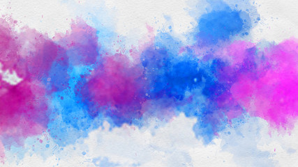 Vivid pink and blue watercolor paint template