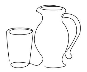 Drink set one line drawing concept
