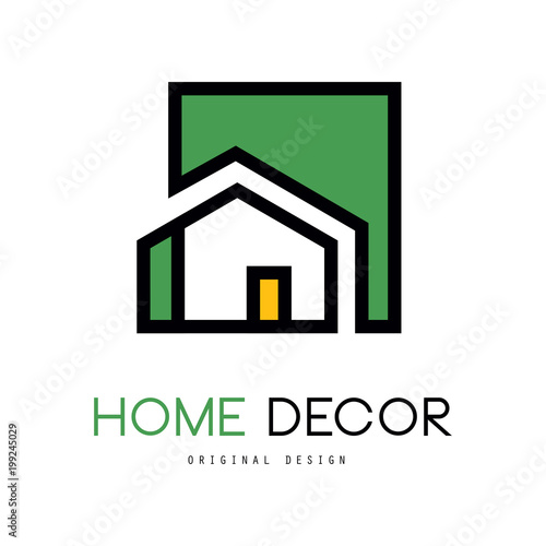 Geometric Vector Logo With Abstract Building Original Linear Emblem New Home Interior Design Company