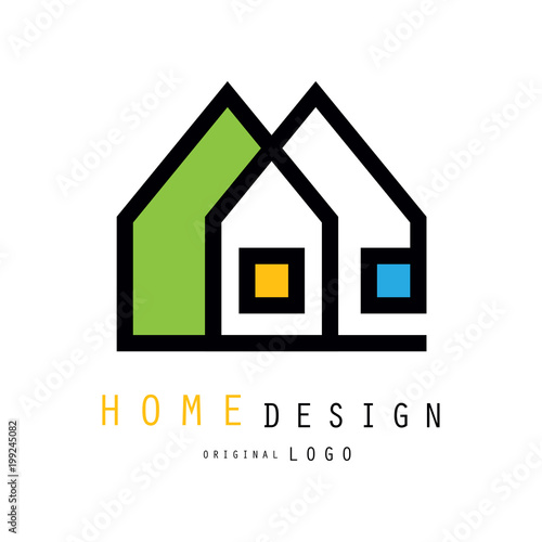 Abstract Houses For Logo Of Construction Or Architecture Company. Vector  Emblem For Store With Home Decor Items, Interior Decorators And Designers