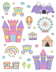 Princess castle isolated design elements.