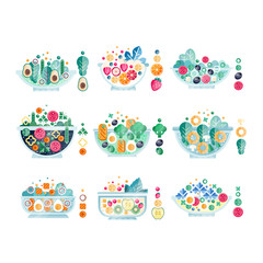 Flat vector set of delicious salads from fresh products vegetables, fruits and eggs. Tasty and healthy food