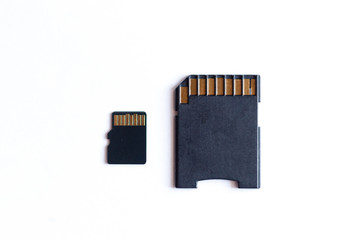 various sizes SD cards on a white background