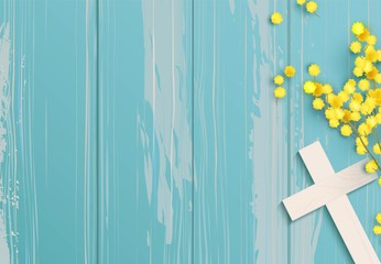 White  cross and mimosa banch on blue rustic wooden background. Vector illustration