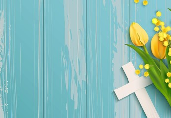 White cross, mimosa branch and yellow tulips on blue rustic wooden background. Vector illustration