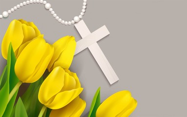 White beads, cross and yellow tulip on shabby background. Vector illustration