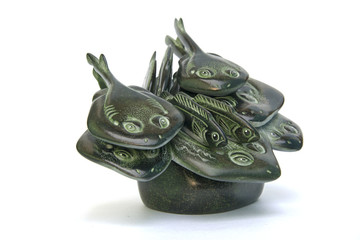 """Russia, Perm Krai, village Red Yasyl: sculptures of the artist Nechayev Sergey  """"pack of fishes"""""""