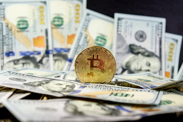 Bitcoin coin isolated on a USD background. Golden coin, virtual currency. Crypto currency. New virtual money.