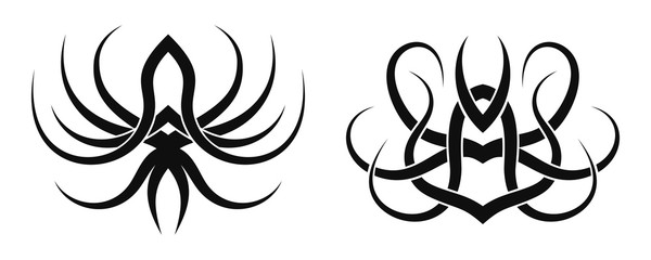 Set of two vector desings. Tattoo tribal patterns.